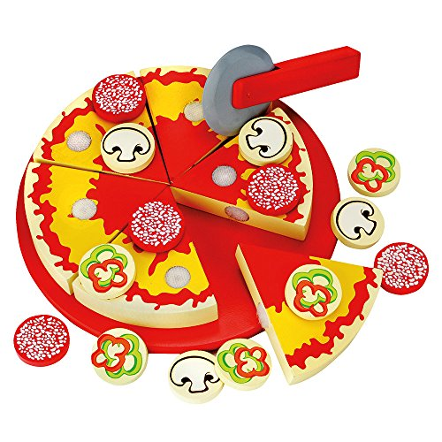 Bino & Mertens 83412 Schneide - Pizza, Spielzeug für Kinder ab 3 Jahre, Kinderspielzeug (Holzspielzeug inklusive 6 Pizzastücke, verschiedener Pizzabelag, Schneidebrett und Pizzaschneider, 31 teilig), Mehrfarbig