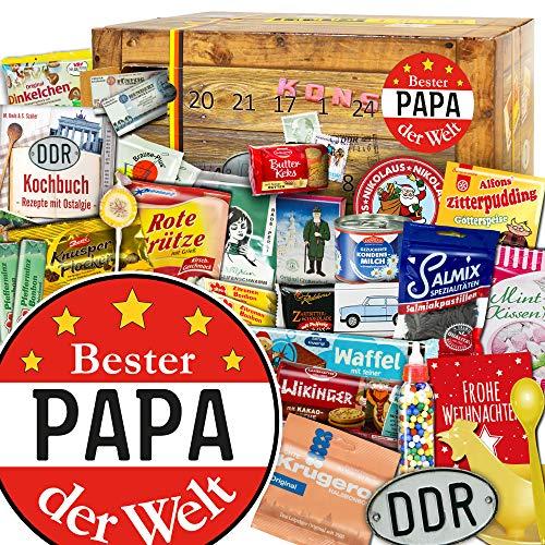 Bester Papa Geschenkidee - Adventskalender DDR Produkte - weihnachtlich verpackt mit Ostmotiven