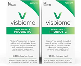 Visbiome - High Potency Probiotics, 112.5 Billion CFU Live Bacteria, Shipped in Styrofoam Cooler w Ice Packs and Temperature Monitoring Sensor, 60 Capsules (2-Pack)