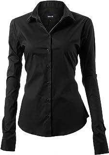Harrms Womens Dress Shirts, Basic Long Sleeve Slim Fit Casual Button Up Shirt Stretch Formal Shirts
