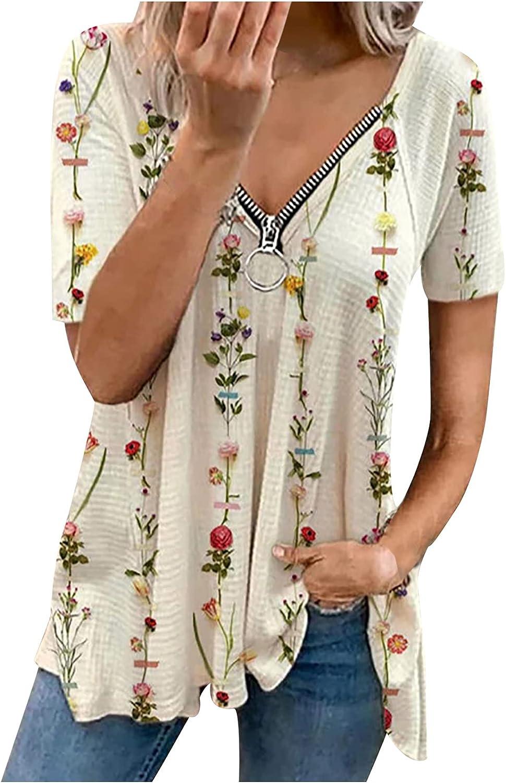 Vintage Floral Printedr Tops for Women Casual Summer Cold Shoulder V-Neck Short Sleeved Blouse Fashion Zipper T-Shirt