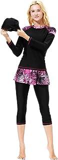 3 Pcs Southeast Asia Women Swimsuit Traditional Swimwear Modest Swimming Beachwear Swim Cap Coat Pants Kit for Women Ladie...