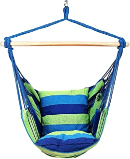 ZJY Hanging Hammock Chair Swing Seat with Two Cushions - Log Wood Stick Breathable Canvas Bold Ring Cotton Rope Bonus Storage Bag Suitable for Indoor/Outdoor