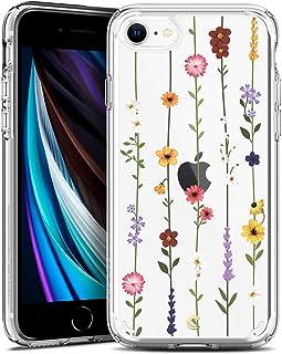 CYRILL Cecile kompatibel mit iPhone SE 2020 Hülle, Transparent Motiv Hart PC rückseite mit Soft Silikon Bumper Handyhülle Durchsichtige Case für iPhone 7/8, iPhone SE   Blumen Garten