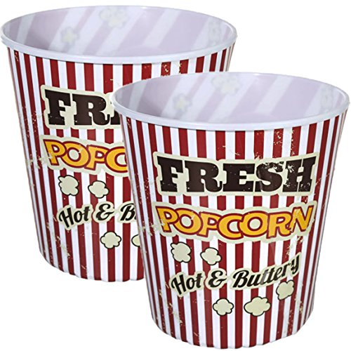 Bada Bing XXL Set Popcorn Eimer Box für Kinoabend Kunststoff wiederverwendar (2er Set)