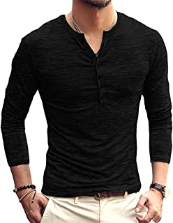 Men's Slim Fit Long Sleeve Henley T-Shirt Casual Basic Tee