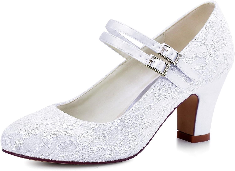 Elegantpark HC1701 Women Mary Jane Pumps Closed Toe Mid Heel Lace Wedding Bridal shoes