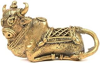 Indianshelf Handmade Brass Shiva Nandi Cow Figurine Statues Decoration Designer Vintage Statement Pieces Online New