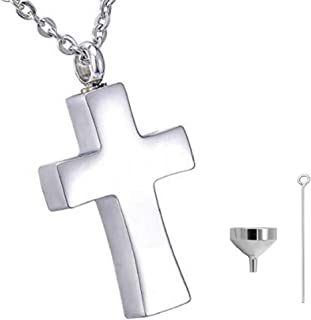 Plain Silver Cross Cremation Urn Necklace for Ashes Christian Urn Jewelry Memorial Ash Jewelry Pendant Keepsake Stainless ...