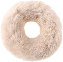 Yongrow Artificial Rabbit Fur Faux Fur Hair Band Elastic Plush Scrunchies Headdress Imitation Scrunchy Hair Tie Hair Accessories(beige)