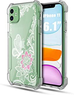 Thonzer iPhone 11 Case, Flower Pattern Design Clear Armor Slim Soft TPU Frosted Bezel Corner Air Cushion Bumper Shockproof Protective Floral Cover Case for iPhone 11 6.1 Inch 2019 (Lace Flower)