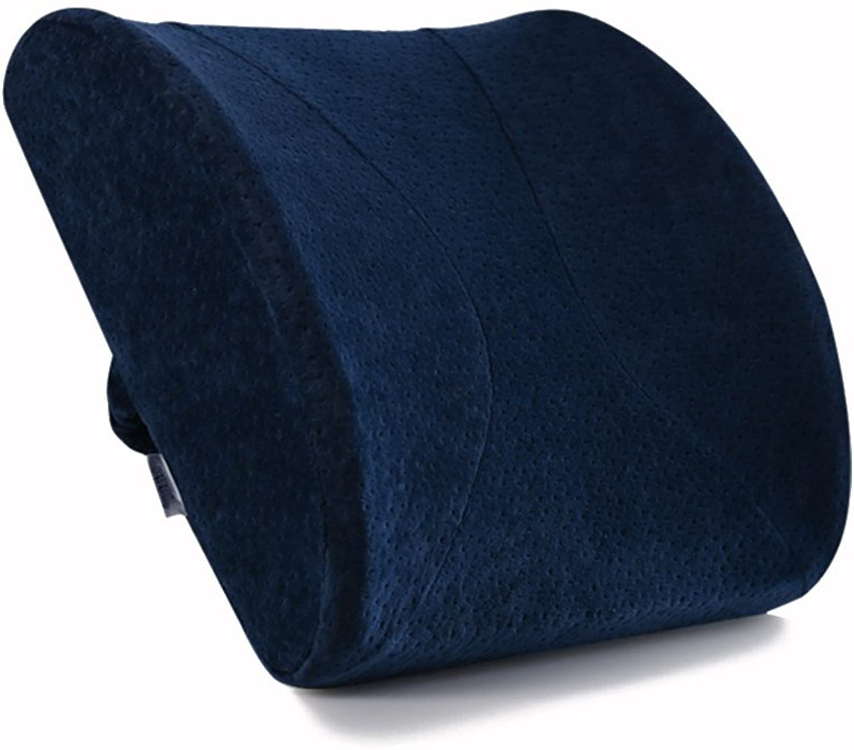 Cushins Lumbar Support Pillow Back Cushion Memory Foam Cushion Ergonomic Back Support Pillow Best Lower Back Support Pillow Cushion Orthopedic Memory Foam GAOFENG (color   Dark bluee)