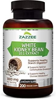 Zazzee White Kidney Bean Extract 200 Veggie Capsules, 1800 mg Per Serving, Potent 10:1 Extract, 18,000 mg Strength, 100% P...