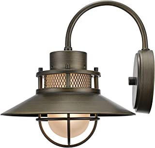 Globe Electric 44097 Liam 1-Light Outdoor Indoor Wall Sconce, Bronze, Frosted White Glass Shade