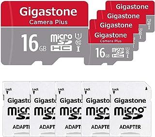 Gigastone Micro SD Card 16GB マイクロSDカード フルHD 5個セット SDアダプタ付 ミニ収納ケース付 SDHC U1 C10 85MB/S 高速 micro sd カード UHS-I Full HD 動画