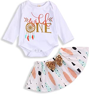 Infant Toddler Baby Girl Outfits 1st Birthday Romper Wild One Top Bow Knot Tutu Skirt 2PCS Fall Winter Clothes