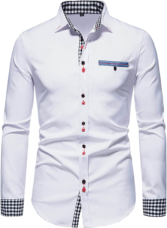 Men's Long Sleeve Dress Shirt Solid Slim Fit Casual Business Formal Button Up Shirts Fall Cotton Check Dress Shirt
