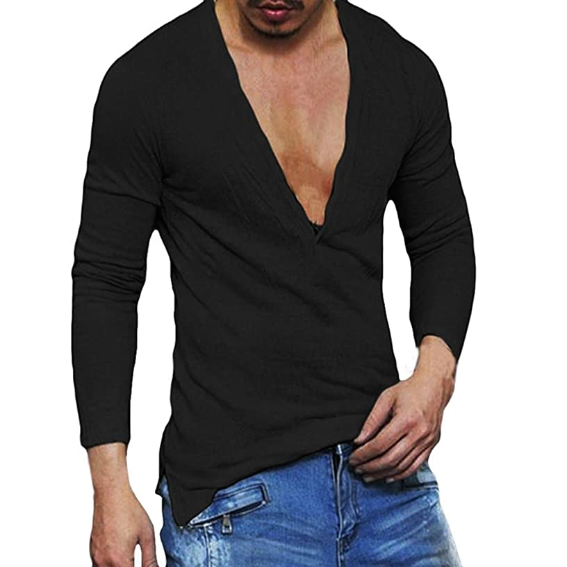 iLH ZYooh Men's Breathable Dance Tee Shirts, Long Sleeves Sport Training Shirts Sexy Deep V Neck Basic Tops