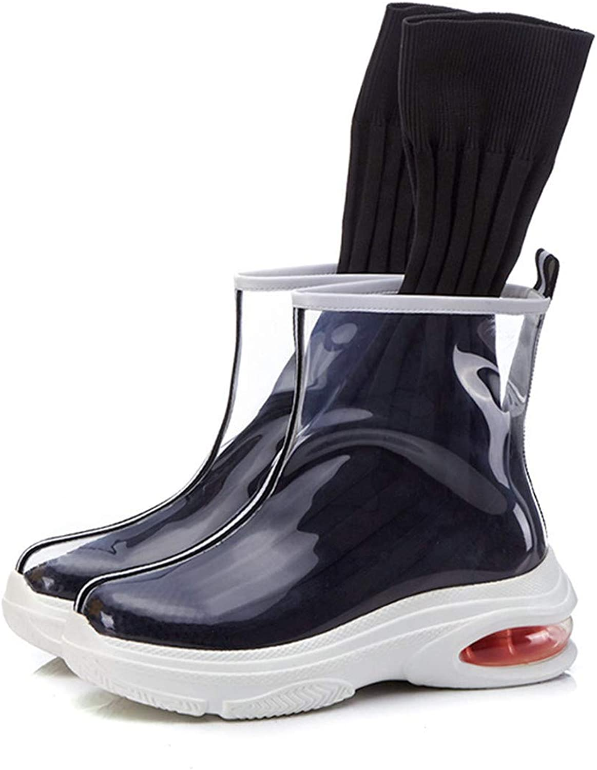 CCBubble Flat Transparent Boots Women shoes See Through Sneakers Women with Socks