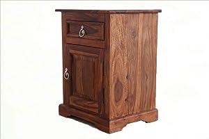 Sarswati Furniture Sheesham Wood Bedside Table for Bedroom | Wooden Side End Table | Drawer Storage | Teak Finish