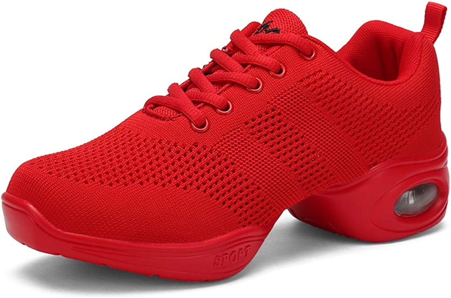 2019 Men Fashion Sneakers, Women'sComfortable Breathable Weave Vamp Lace Up Performance Modern Ballroom shoes Dance shoes for Ladies (color   Red, Size   5 D(M) US)