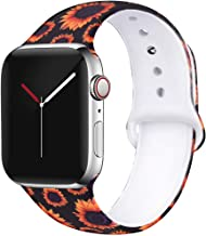 OriBear Floral Band Compatible with Apple Watch 38mm 40mm 42mm 44mm Women Soft Silicone Solid Pattern Printed Replacement Bands for iWatch Series 5/4/3/2/1