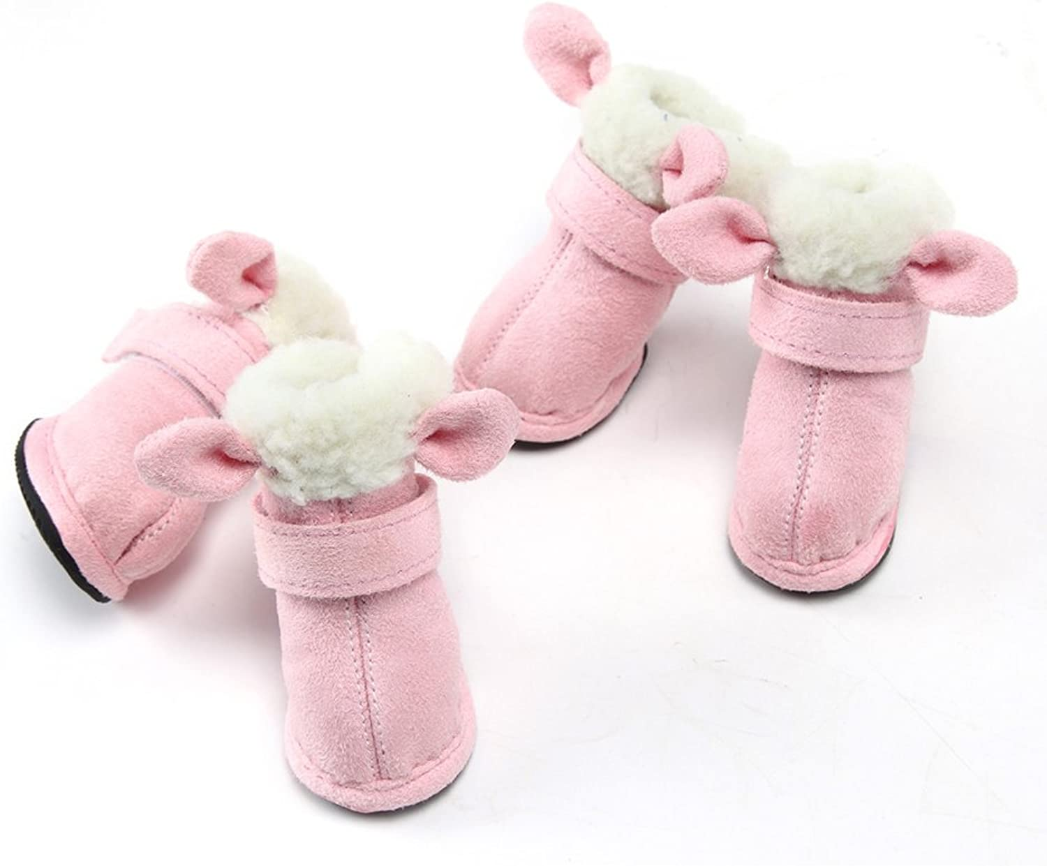 Dog shoes Booties Waterproof AntiSlip Paw Predectors Suit for Winter Fall Coffee Pink Warm
