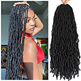 SamBraid 24 Inch 7 Packs New Soft Locs Crochet Hair, Natural Butterfly Locs Crochet Braids, Black Curly And Pre Looped Synthetic Braiding(24 Inch, 7Packs, 1B)
