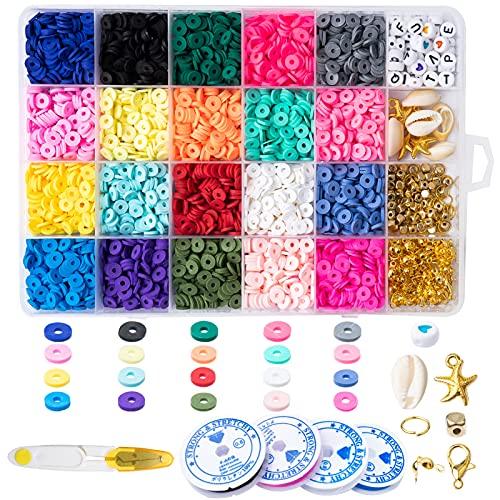 Unnosin Kit de Cuentas de Arcilla para Hacer Joyas, Cuentas Espaciadoras de Arcilla Coloridas, Pulseras, Collares, Pendientes, Kits de Fabricación de Bricolaje para Niños y Adultos(20Colores, 6mm)