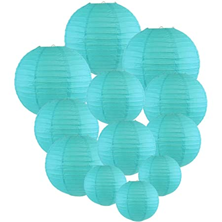 Set of 5 Just Artifacts 12 Aquamarine Blue Paper Lanterns Click for more Chinese//Japanese Paper Lantern Colors /& Sizes!