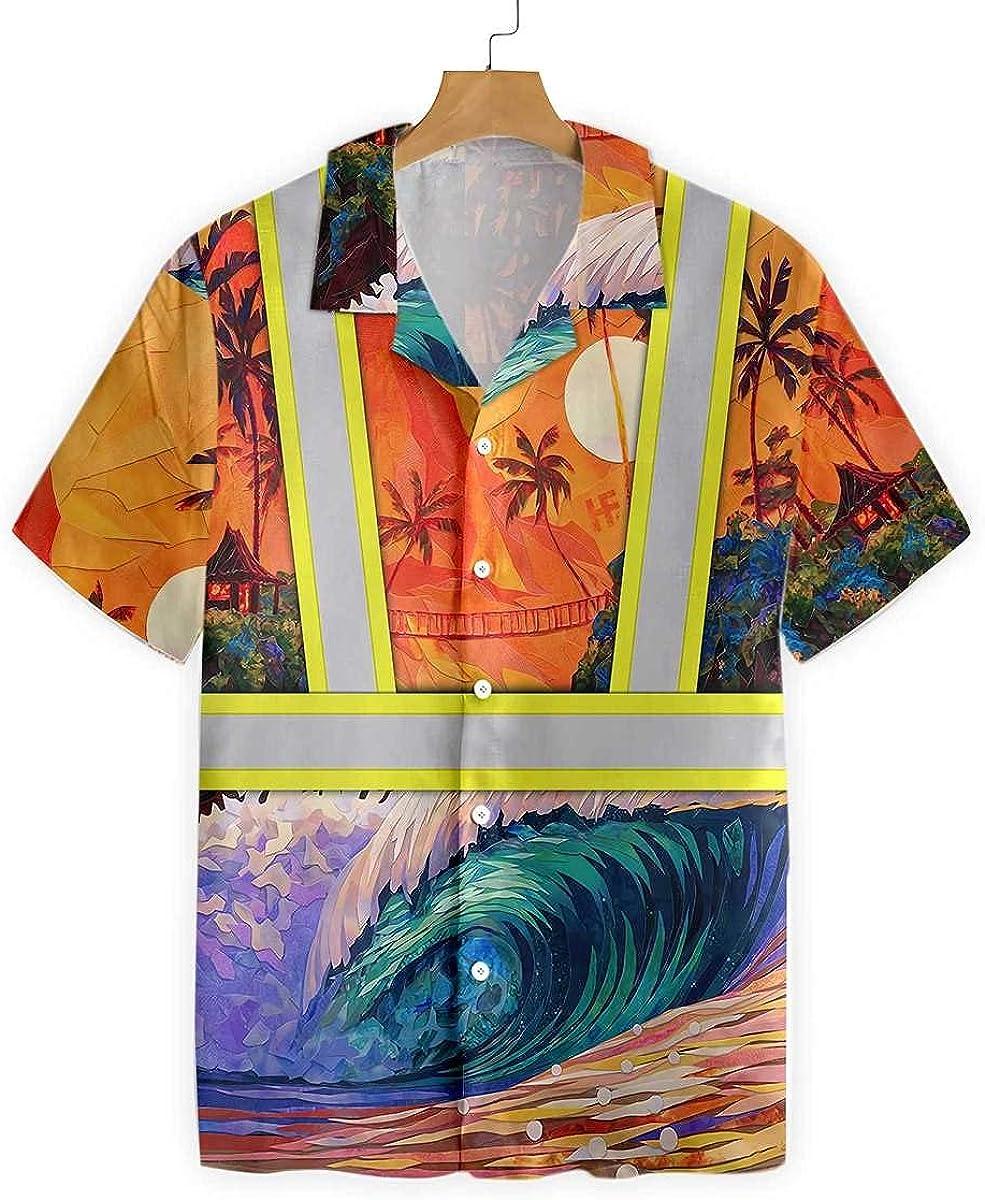 HYPERFAVOR Cool Ironworker Shirts- Emerald Wave Ironworker Hawaiian Shirt- Unique Ironworker Gifts for Men
