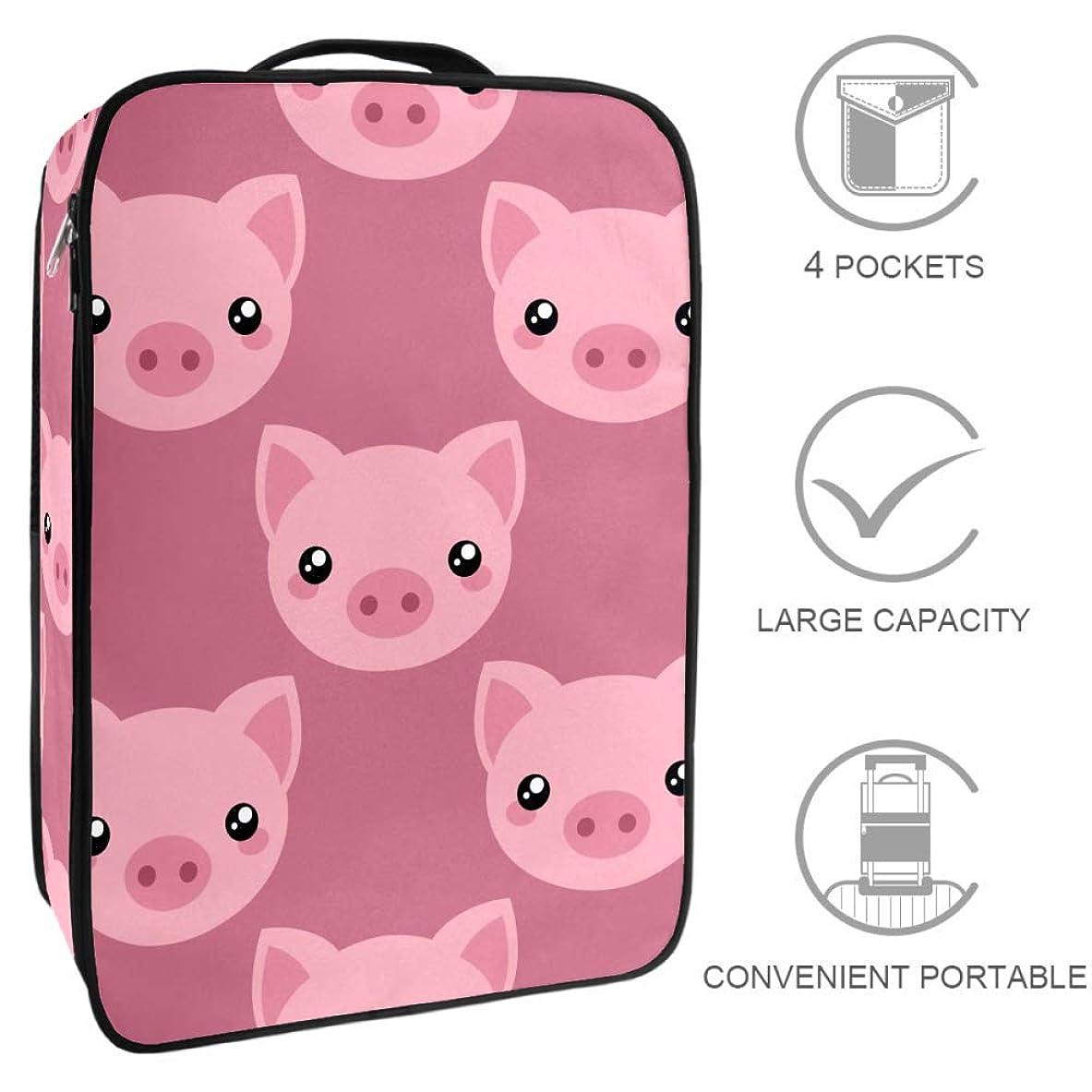 パラシュートカフェ絶滅させるMYSTAGE シューズバッグ 靴箱 シューズケース シューズ袋 旅行収納ポーチ 二層式 靴入れ 小物収納 収納ケース アウドドア 出張 旅行 豚の顔 ピンク