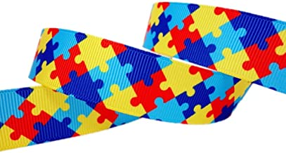 25 Yards 7/8 Inch Autism Awareness Puzzle Printed Grosgrain Ribbon Hairbows Craft Supplies