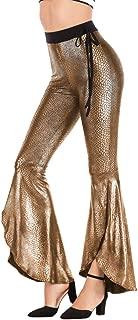 Women Snakeskin Print Leggings Split Flare Pants Long Wide-Leg High Waist Stretchy Bell Bottoms Vintage Yoga Trousers