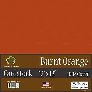 Burnt Orange Cardstock - 12 x 12 inch - 100Lb Cover - 25 Sheets