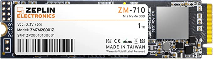 ZEPLIN ELECTRONICS M.2 SSD 1TB NVME Internal Solid State Drive, up to 2050 MB/s
