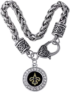 New Orleans Saints Charm Bracelet. Black & Gold Fleur DE LIS Charm is Embellished with Crystal Rhinestones.Perfect WHO DAT Gift