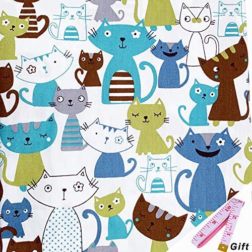 Tela De Algodón Animal Por Metro Con Cinta Métrica Suave - 100% Algodón 160 Cm x 100 Cm Para Coser, Acolchar, Manualidades (Gato Azul)