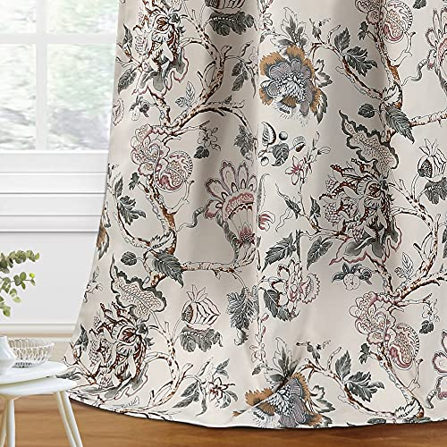 H.VERSAILTEX Blackout Curtains 63 Inch Length 2 Panels Set Floral Print Curtain Drapes for Living Room Thermal Insulated Grommet Window Curtains for Bedroom - Traditional Floral in Sage and Brown