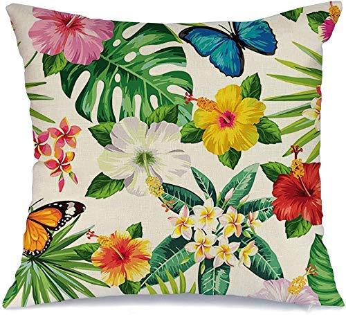 Decoración Throw Pillow Cover Funda de cojín Mariposa verde Flores tropicales Hojas Mariposas Patrón Naturaleza Hawaiano Floral Aloha Verano Funda de Cojine 45 X 45CM