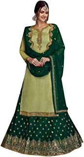 Muslim Festive Party wear Real Georgette Salwar Kameez Lehenga style Indian Women Ethnic dress Semi-stitch 8570