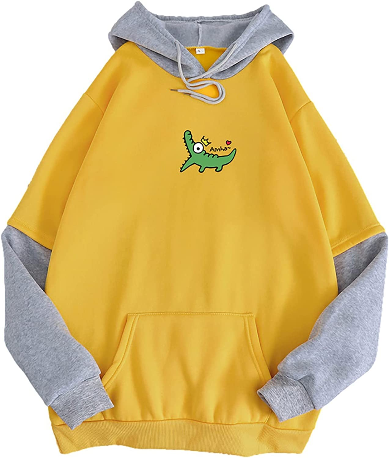 Women Hoodies Tops Splicing Printed Drawstring Great interest Sleeve Pullo Long Direct stock discount