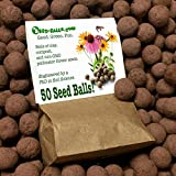 US Native Wildflower Seed Bombs for Pollinators (50 Pack). Regional Wildflower Mix Seed Balls for Guerrilla Gardening (Northern Prairie)