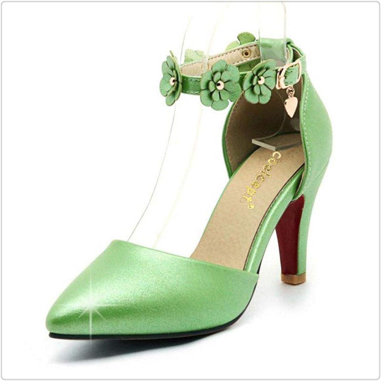 Yyixianma Size31-43 Women High Heel Sandals Women Flower Ankle Strap Pointed Toe Thin Heels Sandals Summer shoes Women Footwear Green 10