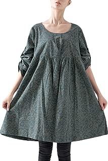 Women's Roll-up Sleeve Printing Shirt Tops Cotton Linen Dress