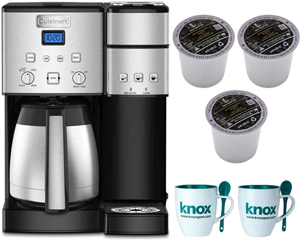 Cuisinart SS 20 Coffee Center 10 Cup Thermal Single Serve Brewer Coffeemaker Silver Includes 9 Van Houtte K Cups And 2 Mugs Bundle