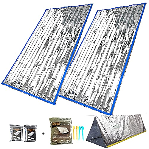 Bivy Sack, Emergency Sleeping Bags 2 Pack with Thermal Emergency Survival Shelter Tent, Mylar Waterproof Survival Kit Windproof Bivvy Bag for HomelessPerson, Hiking, Climbing