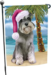 Doggie of the Day Summertime Happy Holidays Christmas Schnauzers Dog on Tropical Island Beach Garden Flag