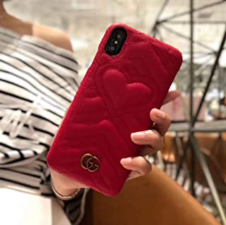 KOOLIFE Phone case for iPhone 7 8 Plus Case, Elegant Street Fashion Luxury Designer PU Leather Heart Slim Fit Shockproof Cover Case for iPhone 7 Plus, iPhone 8 Plus -Love Red