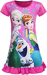 WNQY Little Girls Princess Anna Pajamas Toddler Elsa Nightgown Dress